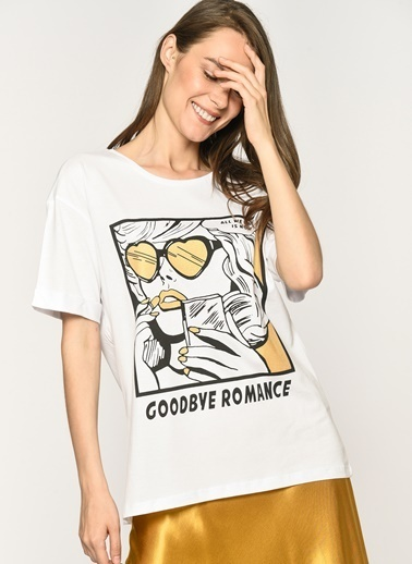 Loves You Goodbye Romance Baskılı Simli T-shirt Beyaz